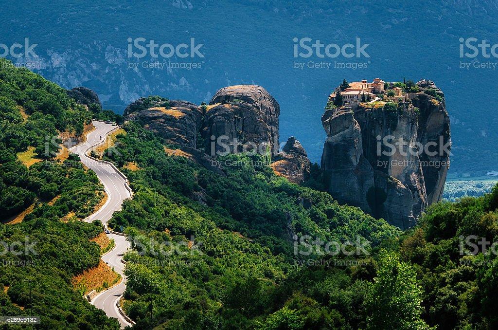 The curve road to Holy Trinity Monastery, Meteora, Greece stock photo