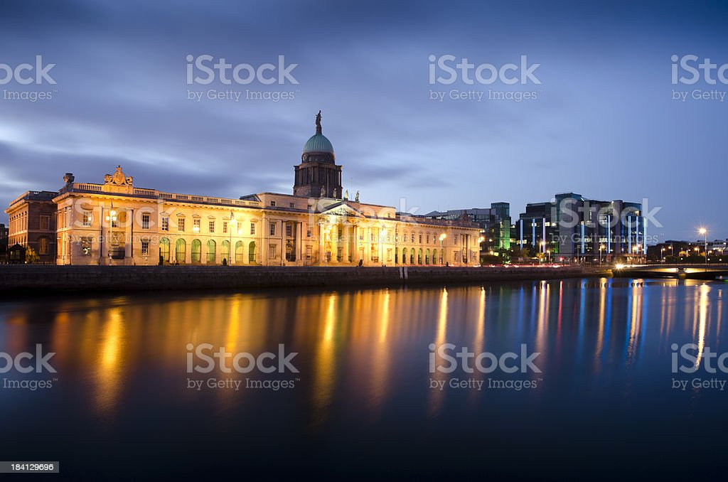 The Custom House in Dublin evening hours stock photo