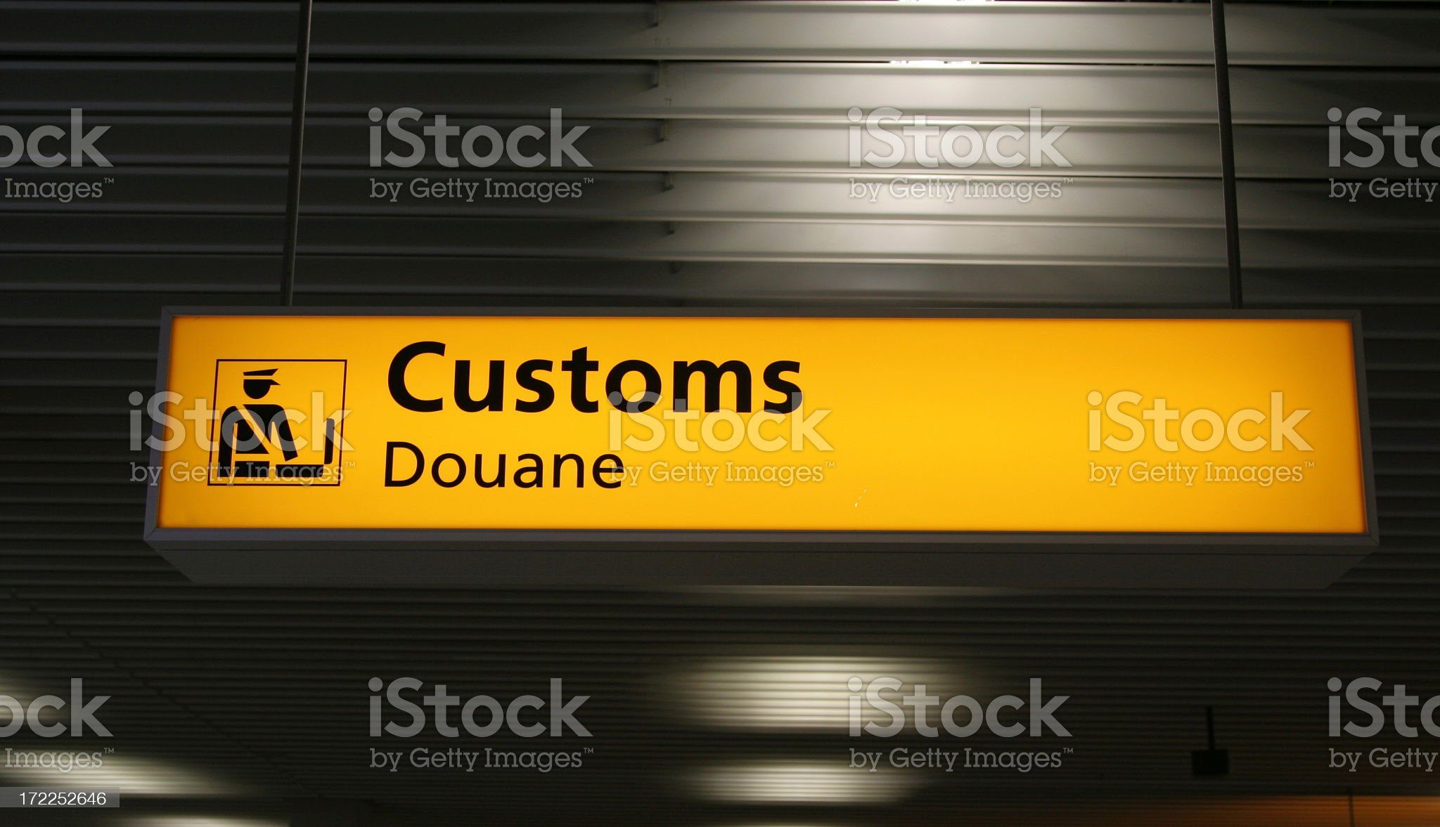The customs sign at an airport royalty-free stock photo