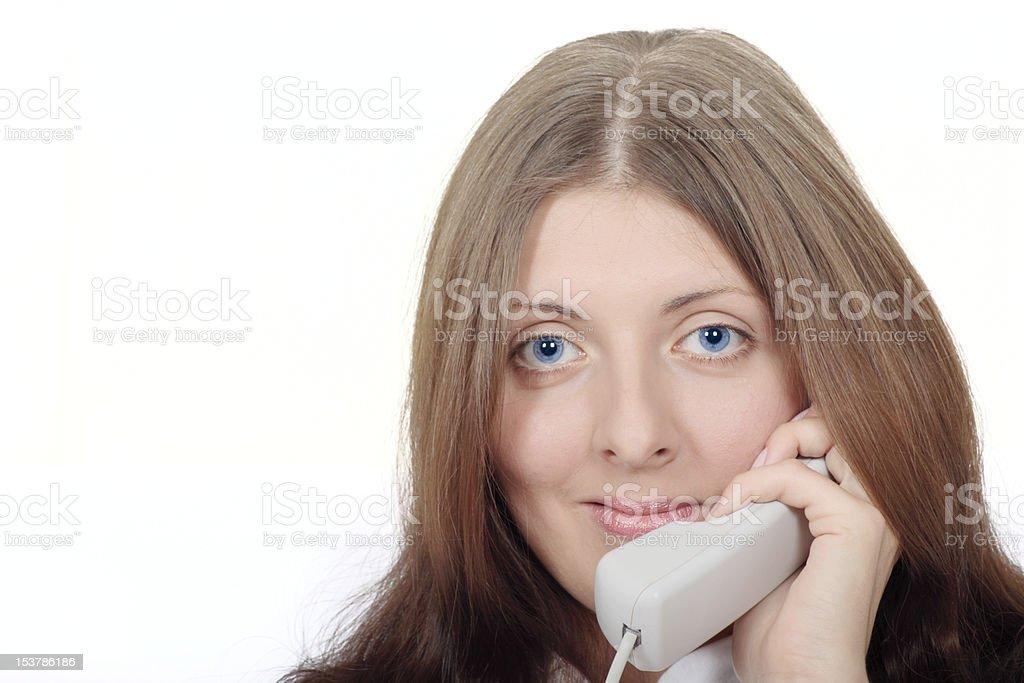 Ładny Dziewczyna rozmawianie przez telefon stacjonarny zbiór zdjęć royalty-free