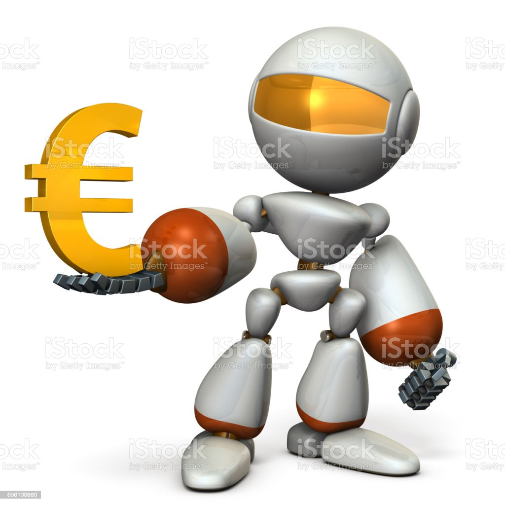 The cute robot wants a profit. vector art illustration