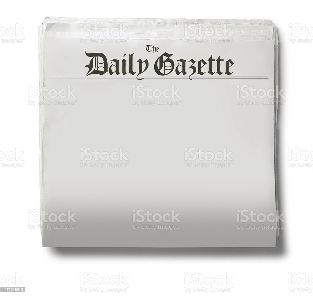 The Daily Gazette newspaper on a white background royalty-free stock photo