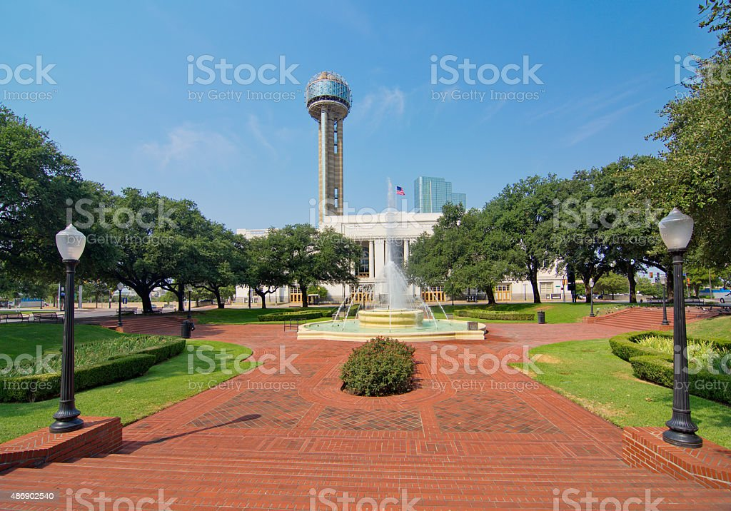 The Dallas Union train station, plaza, and tower stock photo