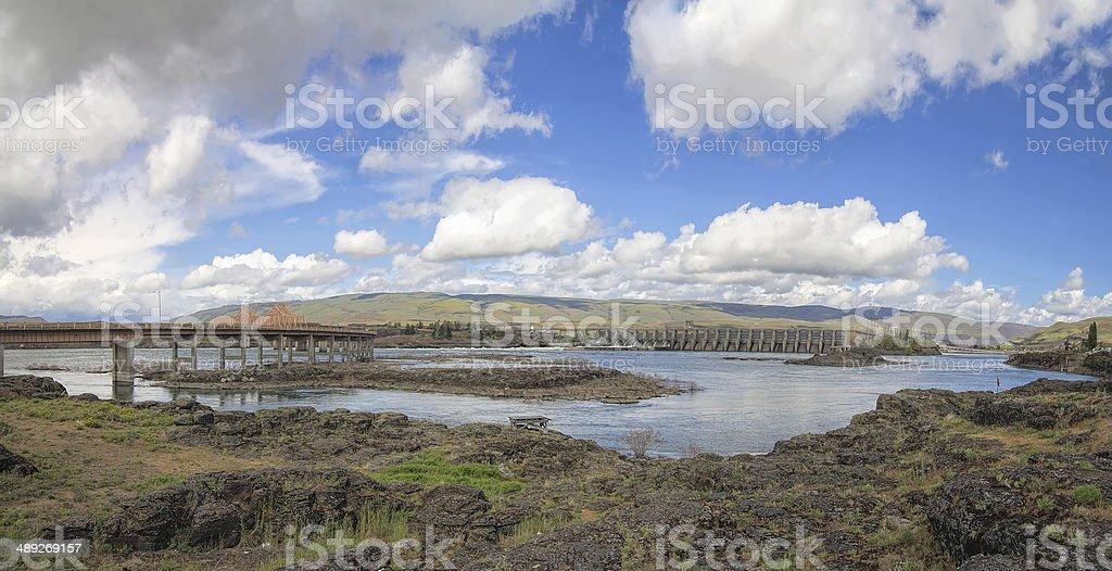 The Dalles Dam and Bridge Across Columbia River stock photo