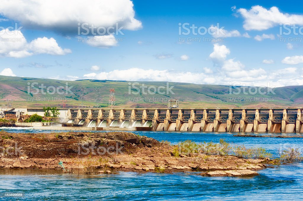 The Dalles Dam on the Columbia River stock photo