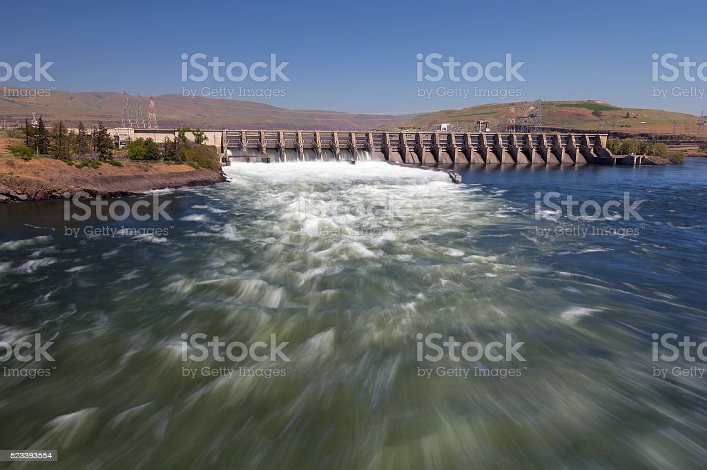 The Dalles Dam stock photo