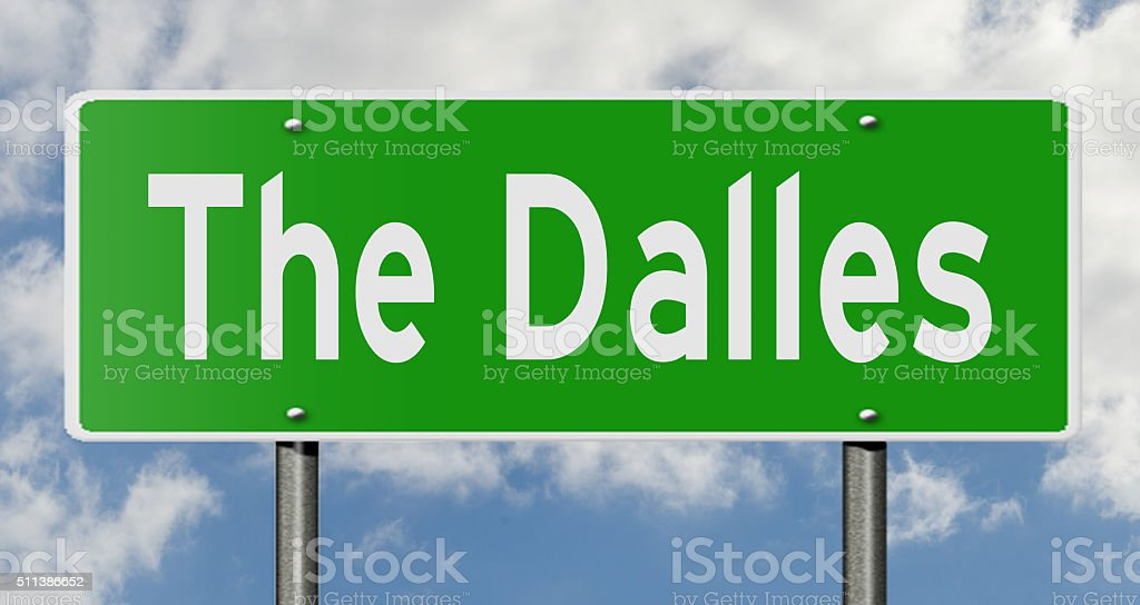 The Dalles highway sign stock photo