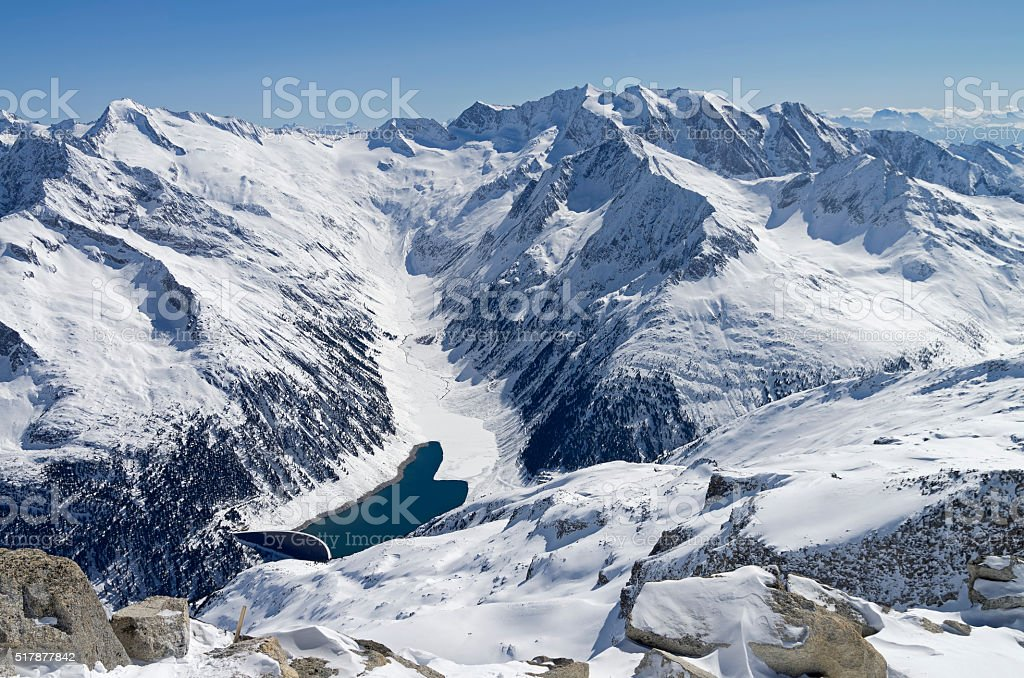 The dam in a mountain gorge. stock photo