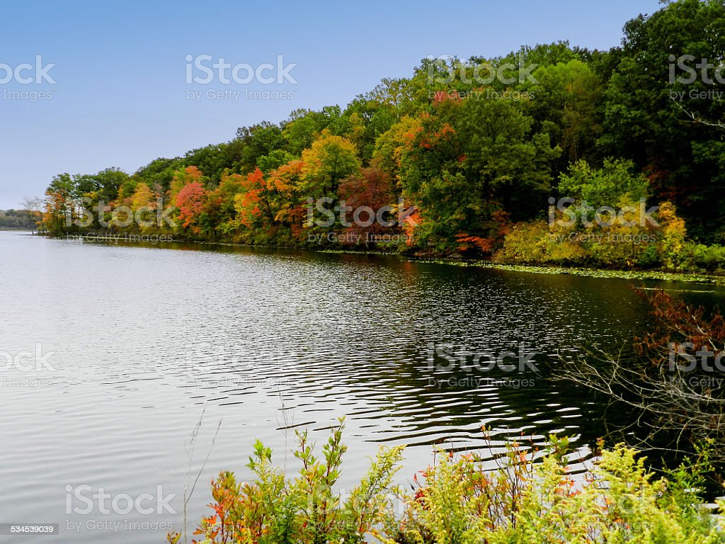 The Dam in Fall stock photo
