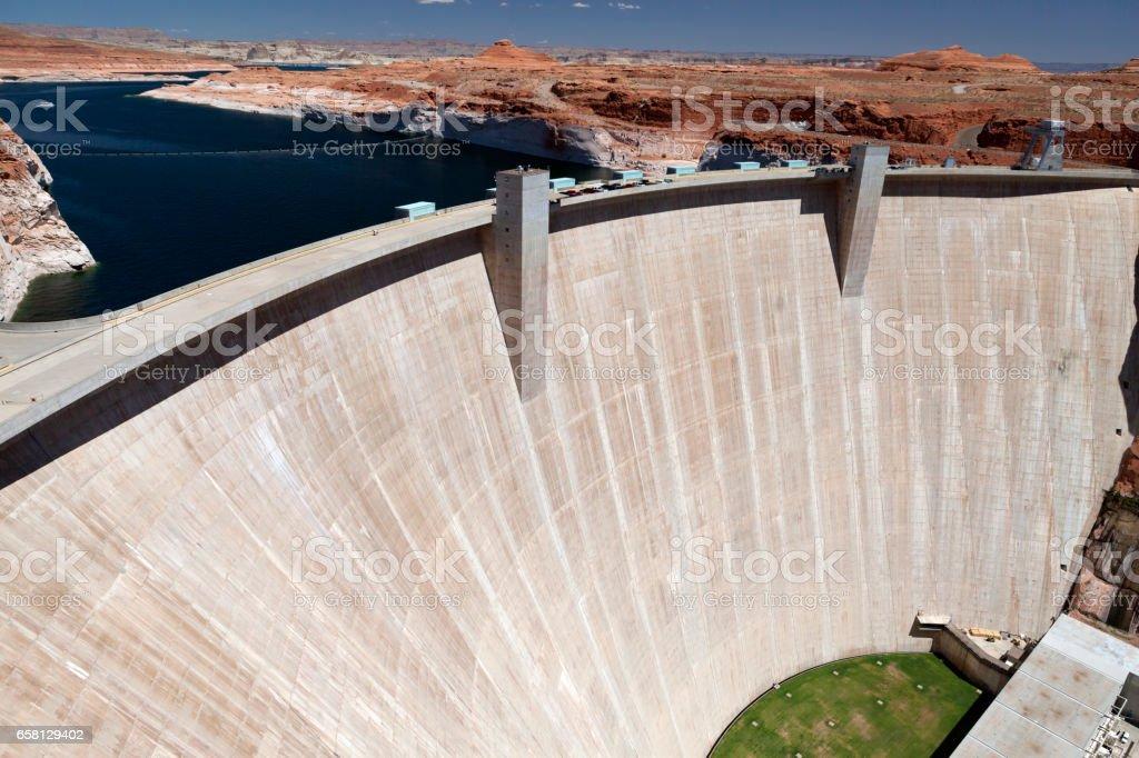 The dam on the Colorado River in Glen Canyon stock photo