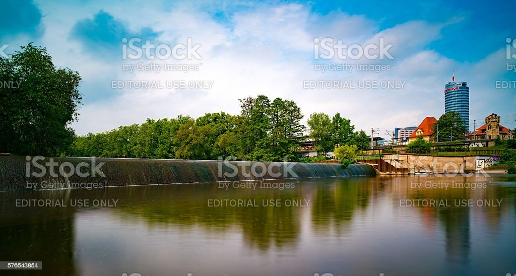 The dam on the river Saal. Jena. Germany stock photo