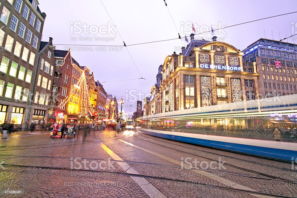 The damsquare in Amsterdam Netherlands at christmas royalty-free stock photo