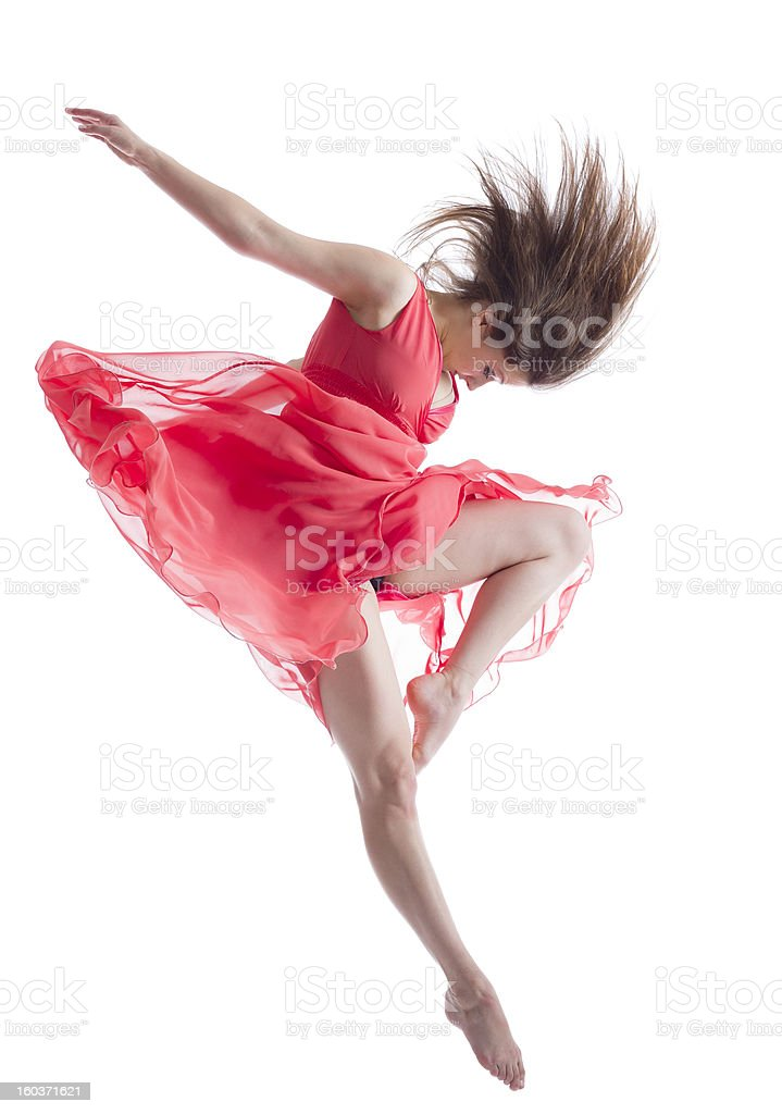 The dancer in midair isolated on white stock photo