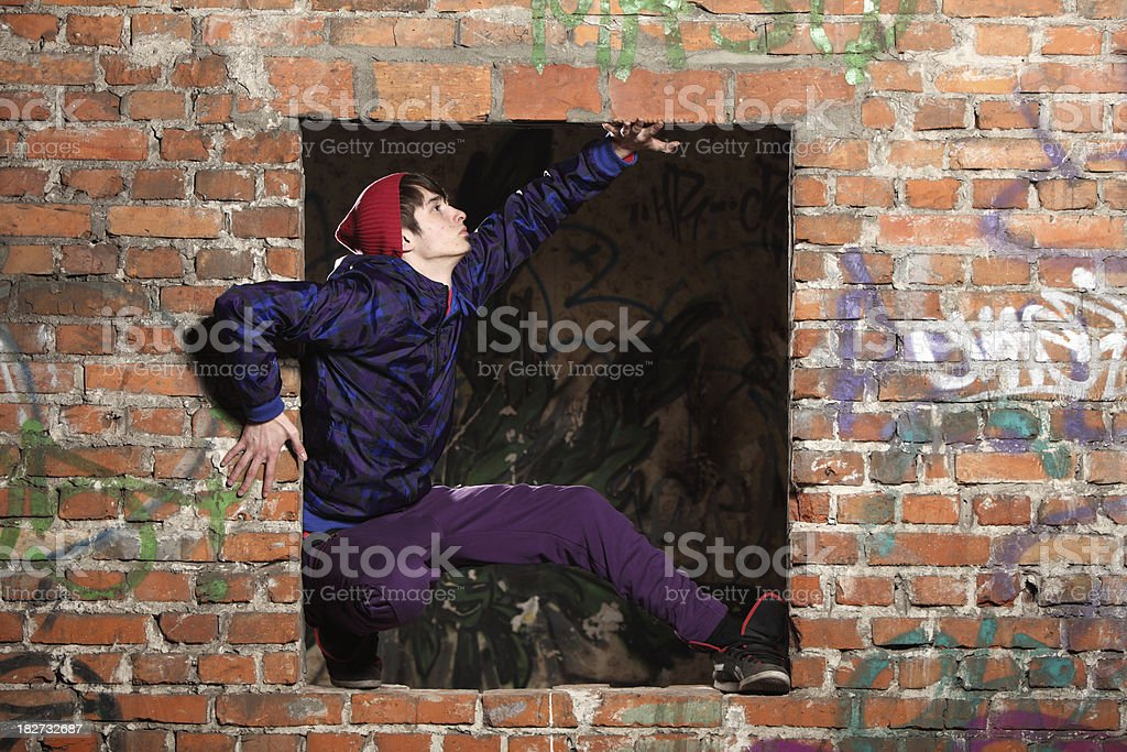The dancer in windows royalty-free stock photo