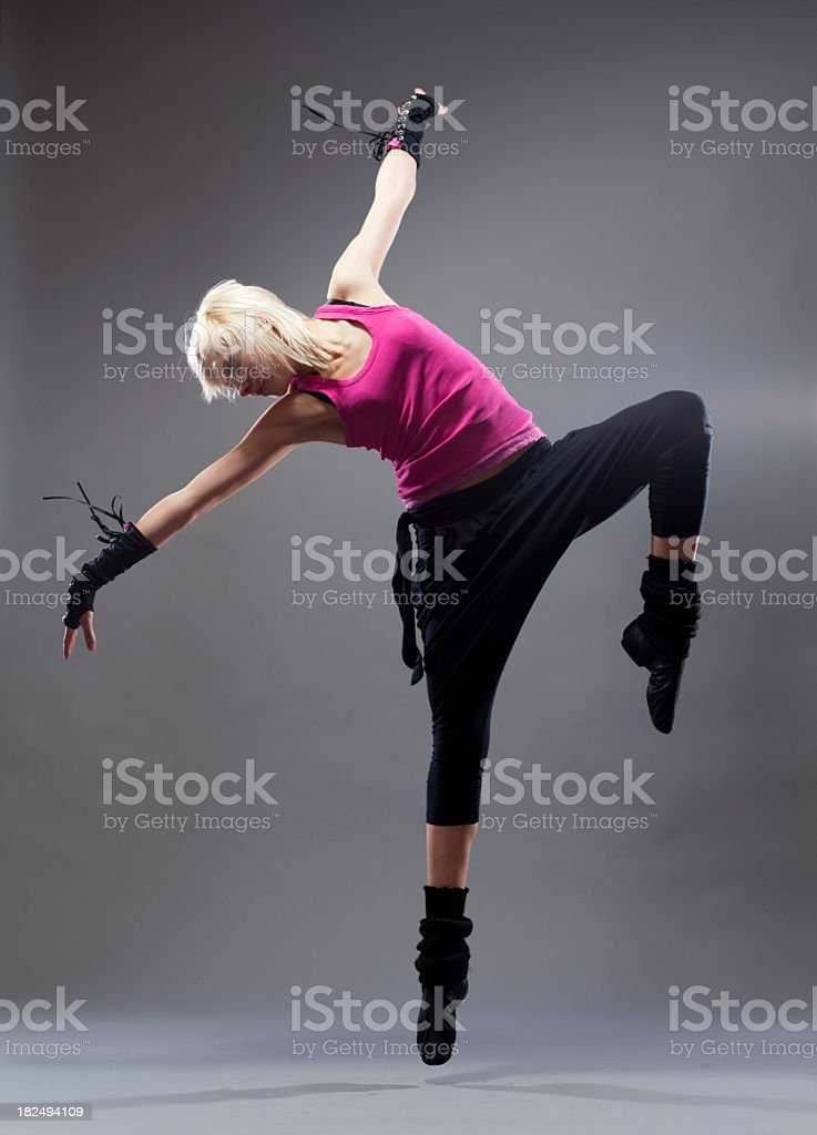 The Dancer on grey  background royalty-free stock photo