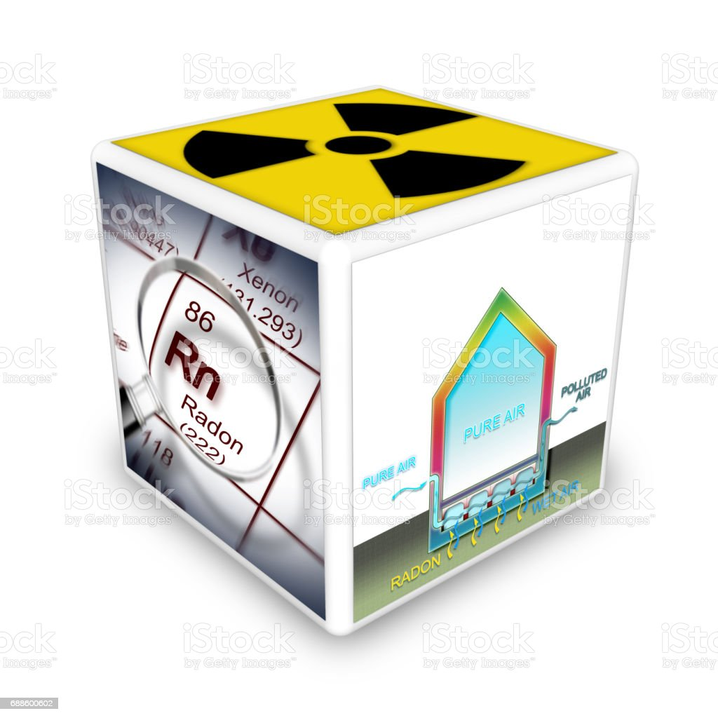 The danger of radon gas in our homes. Concept image stock photo
