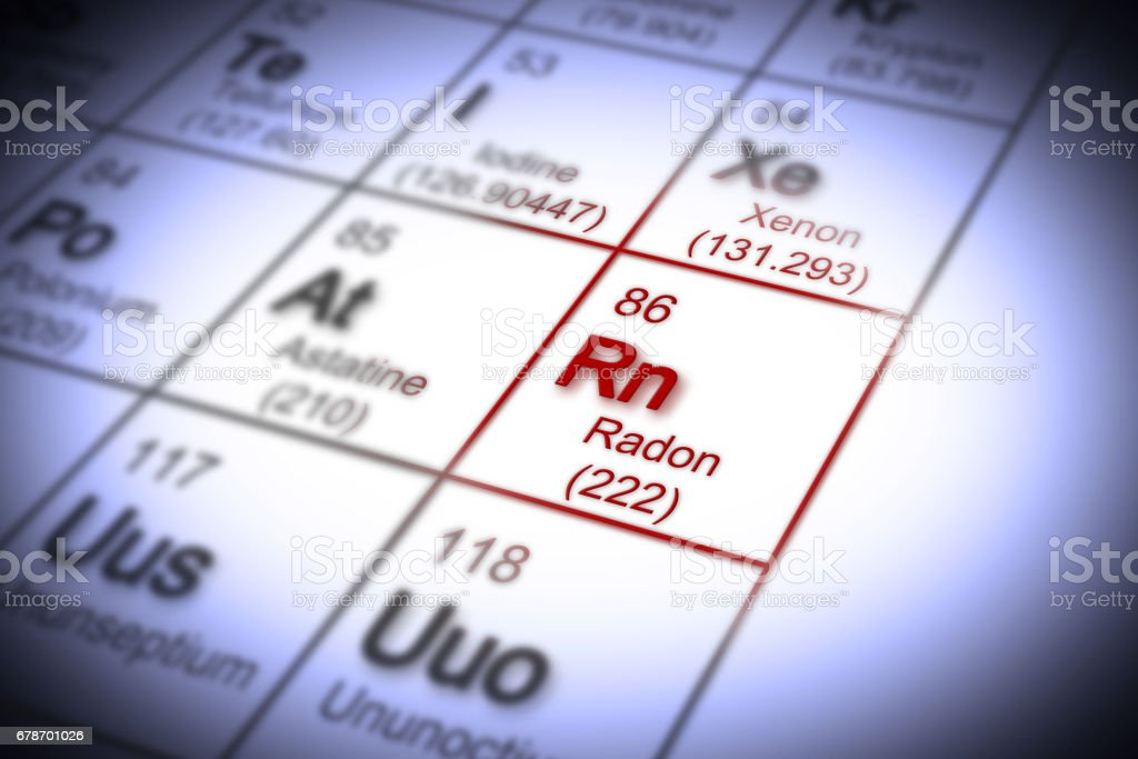The danger of radon gas in our homes - concept image with periodic table of the elements stock photo