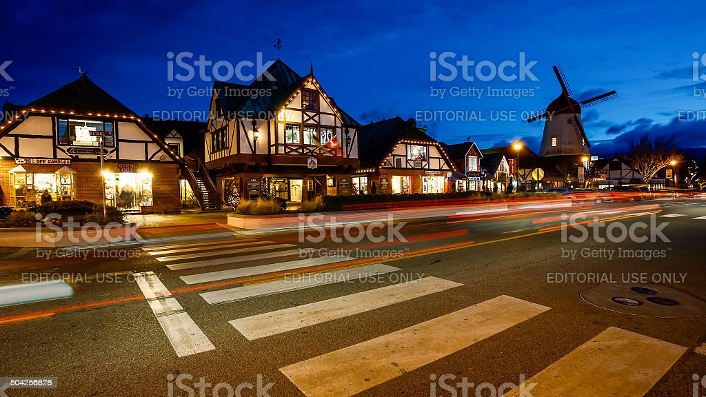 The Danish Town of Solvang, California at Night Timelapse stock photo