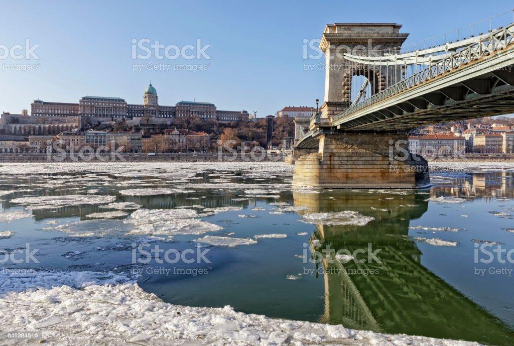 The Danube at wintertime in Budapest stock photo