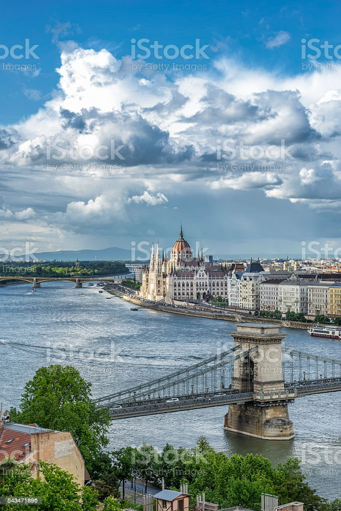 The Danube River in Budapest stock photo