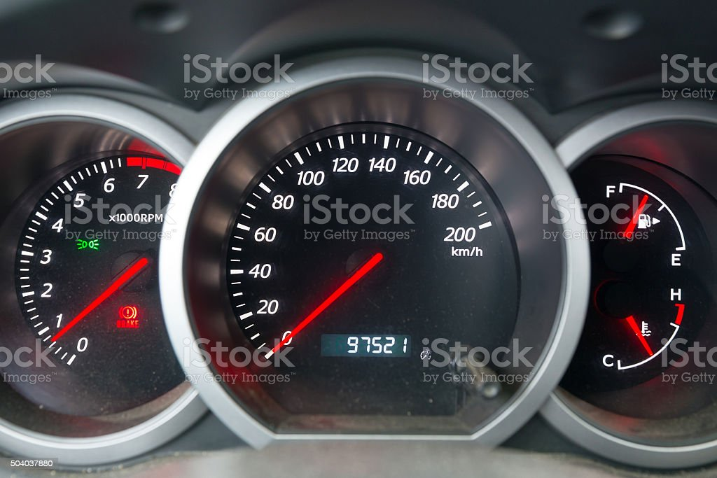 The dashboard of the car close-up stock photo