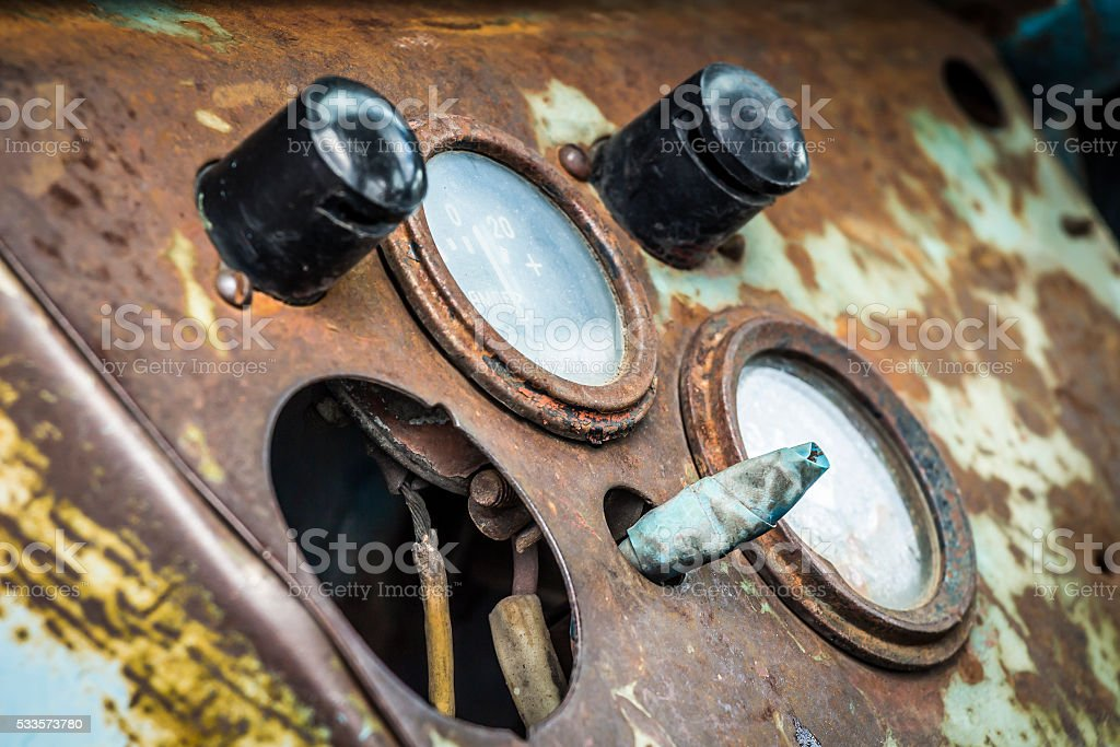 The dashboard of the old tractor stock photo