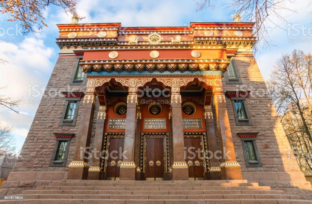 SAINT-PETERSBURG, RUSSIA - MAY 16, 2016: The Datsan Gunzechoinei is a large Buddhist temple. St. Petersburg, Russia. Buddhist datsan facade stock photo