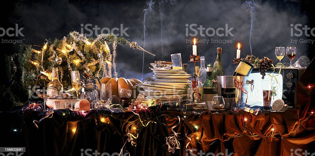 the day after Christmas party stock photo