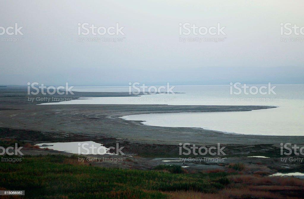 The Dead sea landscape before a sunrise stock photo