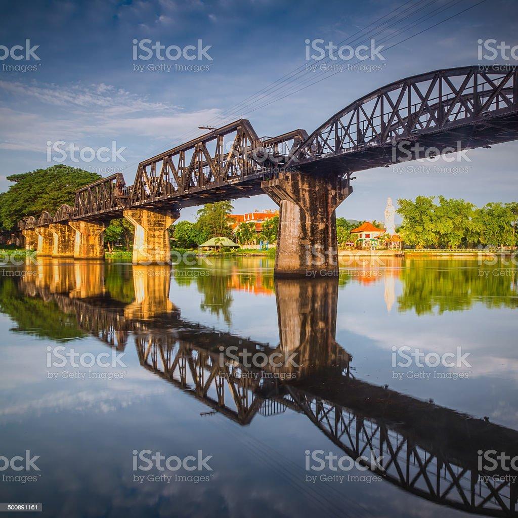 the death railway bridge over river kwai in Kanchanaburi Thailand stock photo