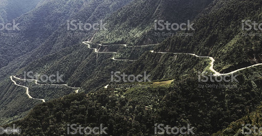The Death Road in Bolivia stock photo