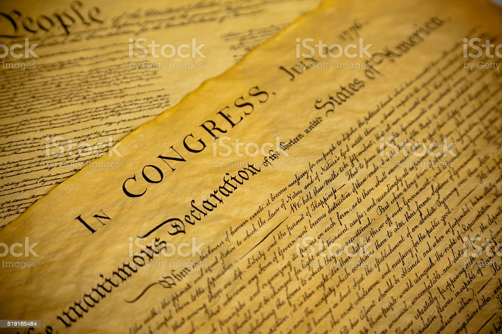 The Declaration of Independence and Constitution of the USA stock photo