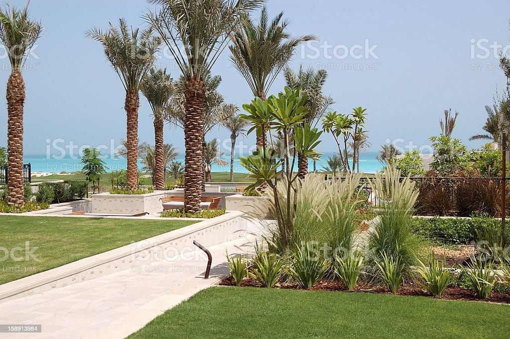 The decoration of luxury hotel, Saadiyat island, Abu Dhabi, UAE stock photo