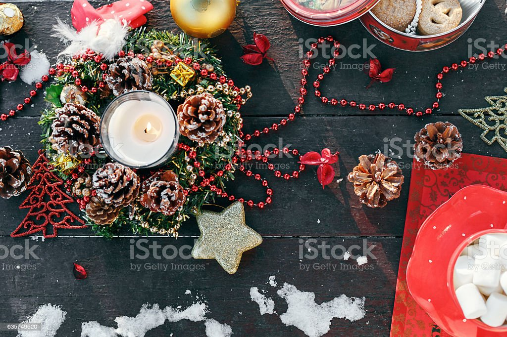 The decoration of the Christmas table stock photo