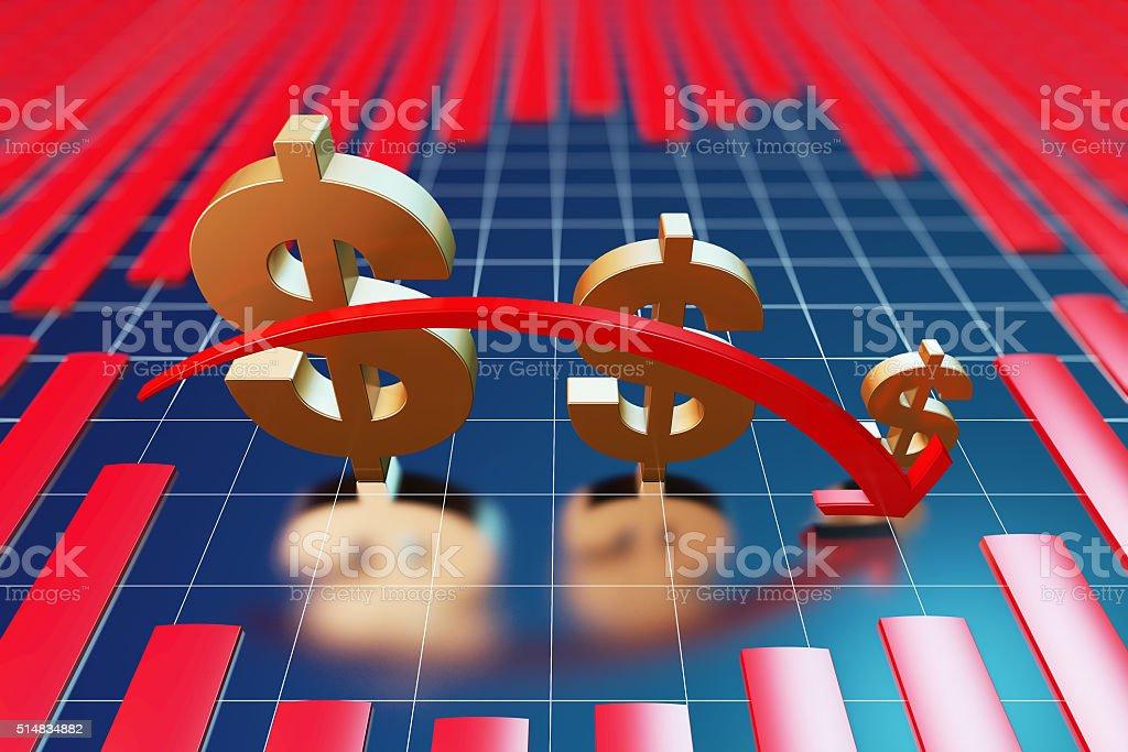 The decrease of economic level stock photo
