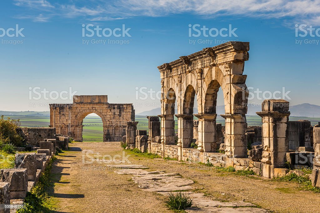 The Decumanus Maximus, Volubilis stock photo