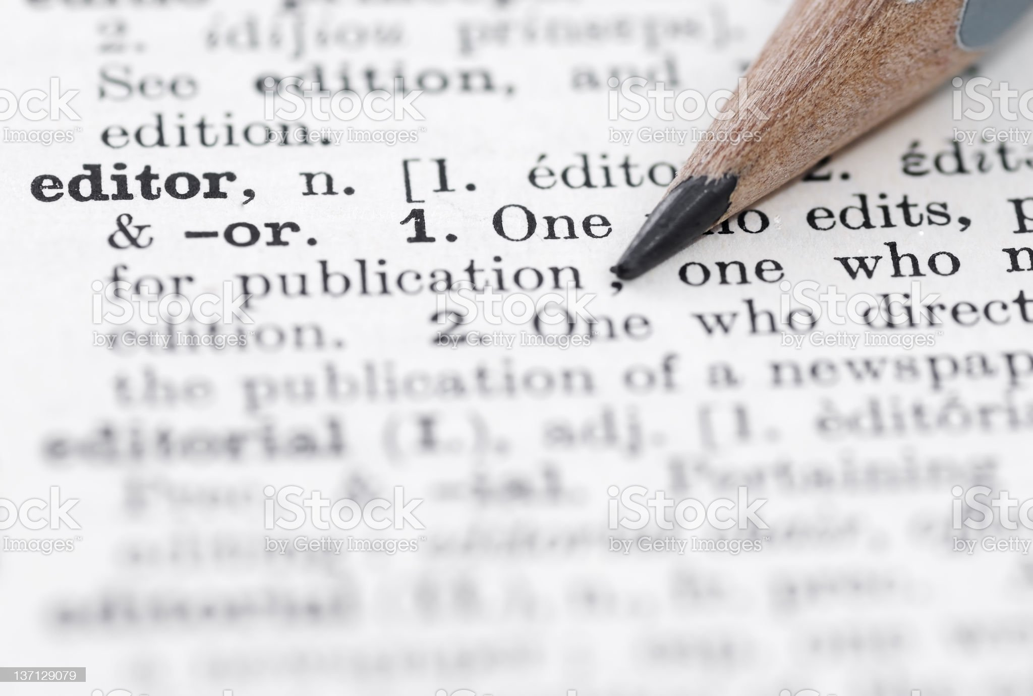 The definition of editor in a English dictionary royalty-free stock photo