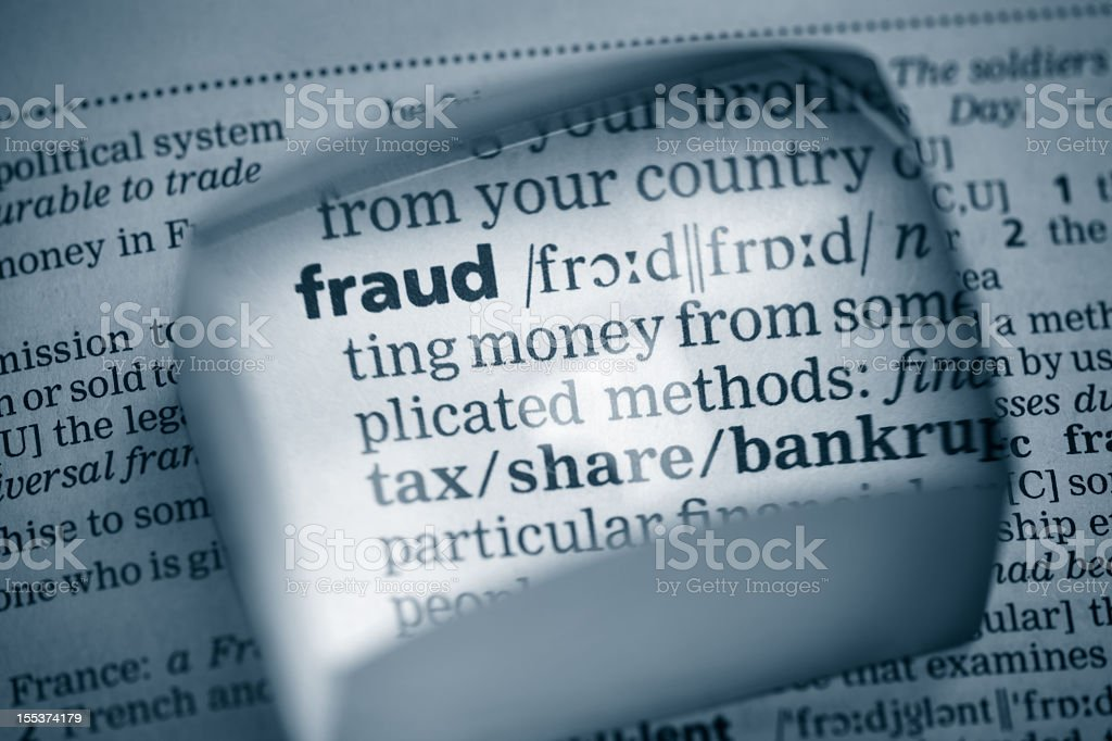 The definition of fraud specifically relevant to money royalty-free stock photo