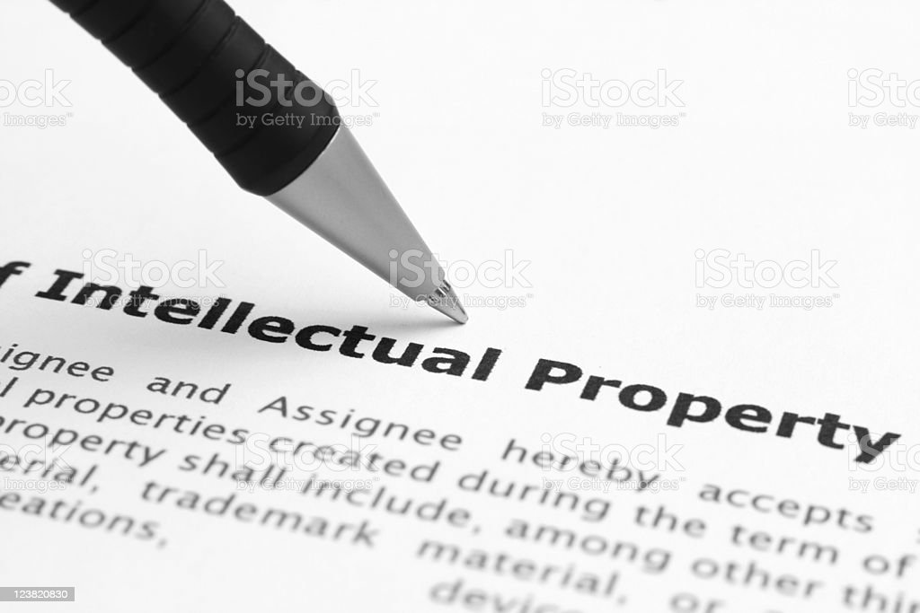The definition of intellectual property on a piece of paper royalty-free stock photo