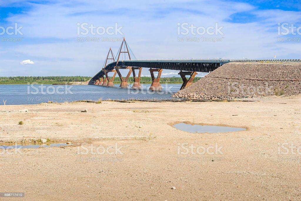 The Deh Cho Bridge - Mackenzie River stock photo
