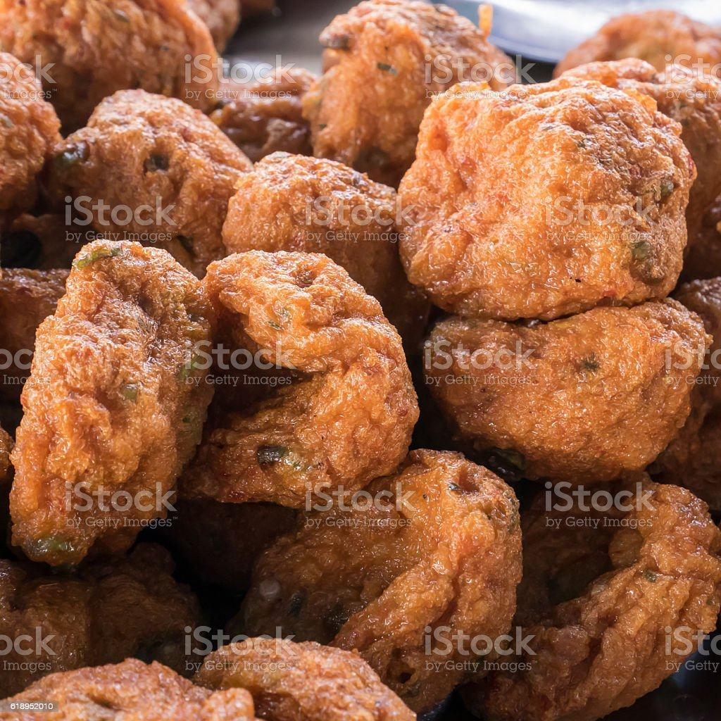 The delicious fried fish-paste balls. (Thai food) stock photo