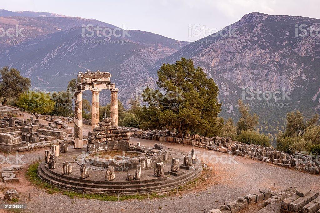 The Delphic Tholos, Delphi, Greece stock photo