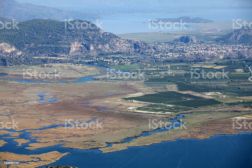 The delta of Dalyan river stock photo