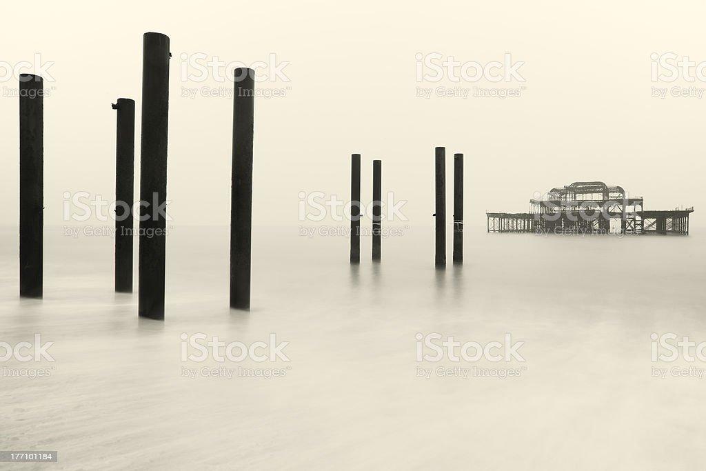 The derelict West Pier at Brighton, Sussex stock photo