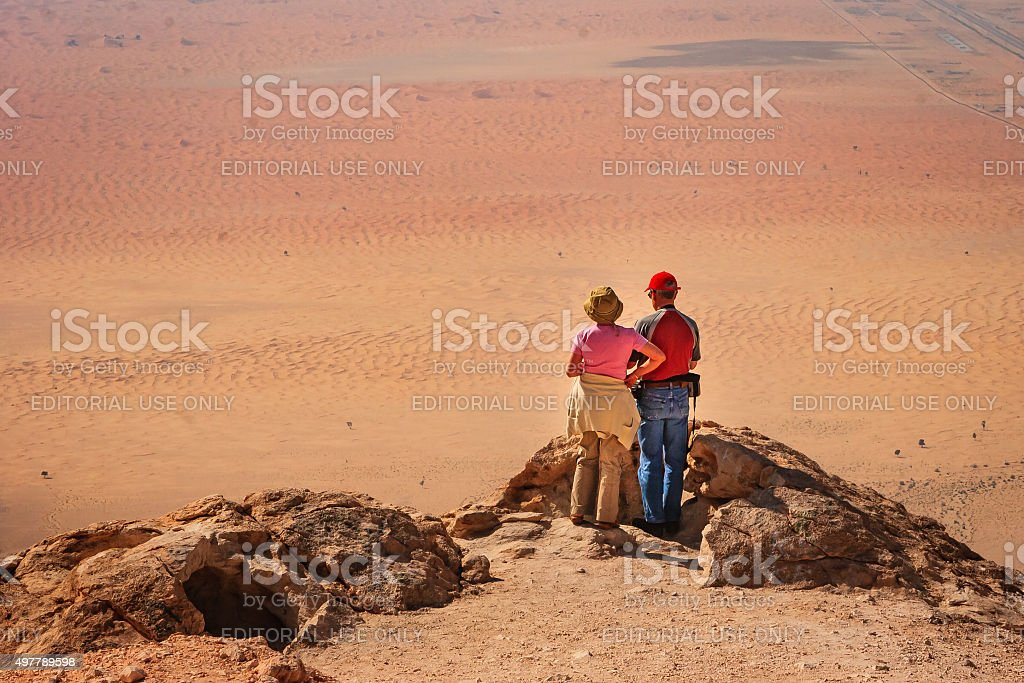 UAE: The desert sands of Arabia, viewed from Jebel Hafit. stock photo