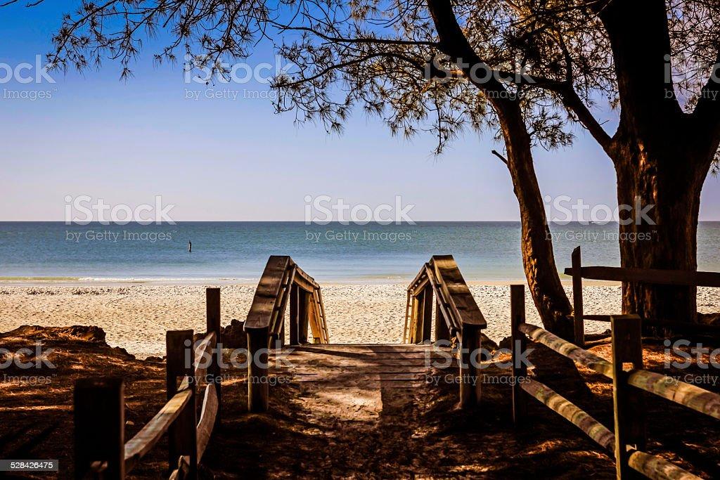 The deserted Anna Maria Island public beach in Florida stock photo