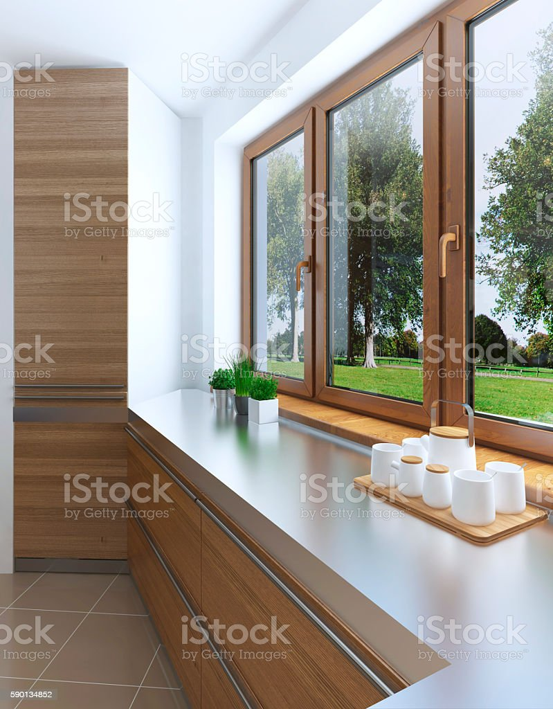 The design idea of the built-in refrigerator stock photo