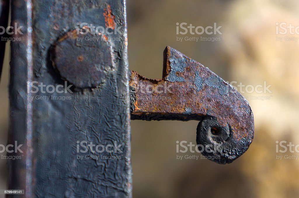 The detail of rusty iron gates stock photo