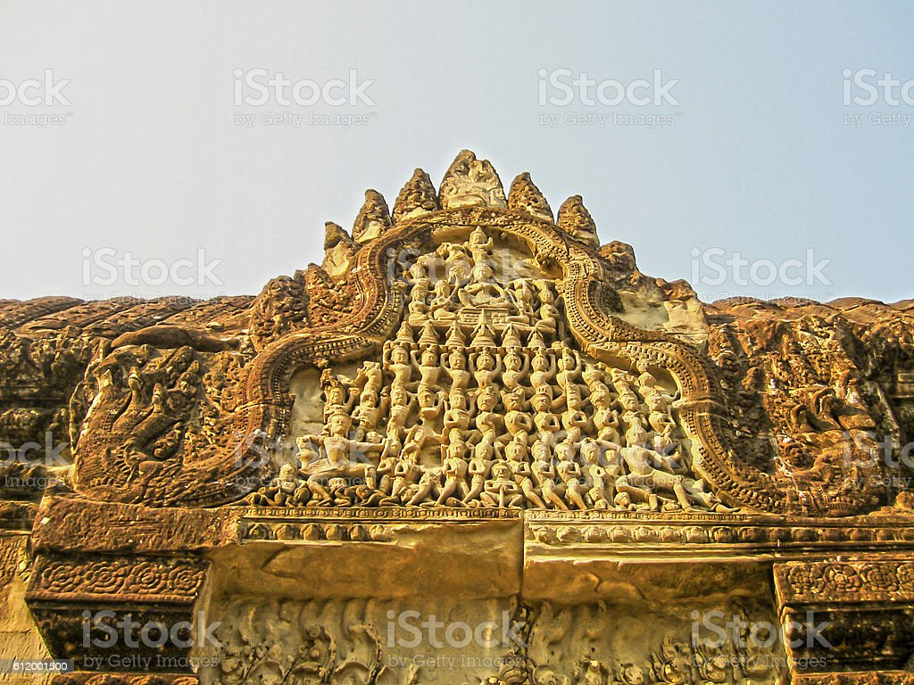 The detail of stone carvings in Angkor Wat, Cambodia. stock photo