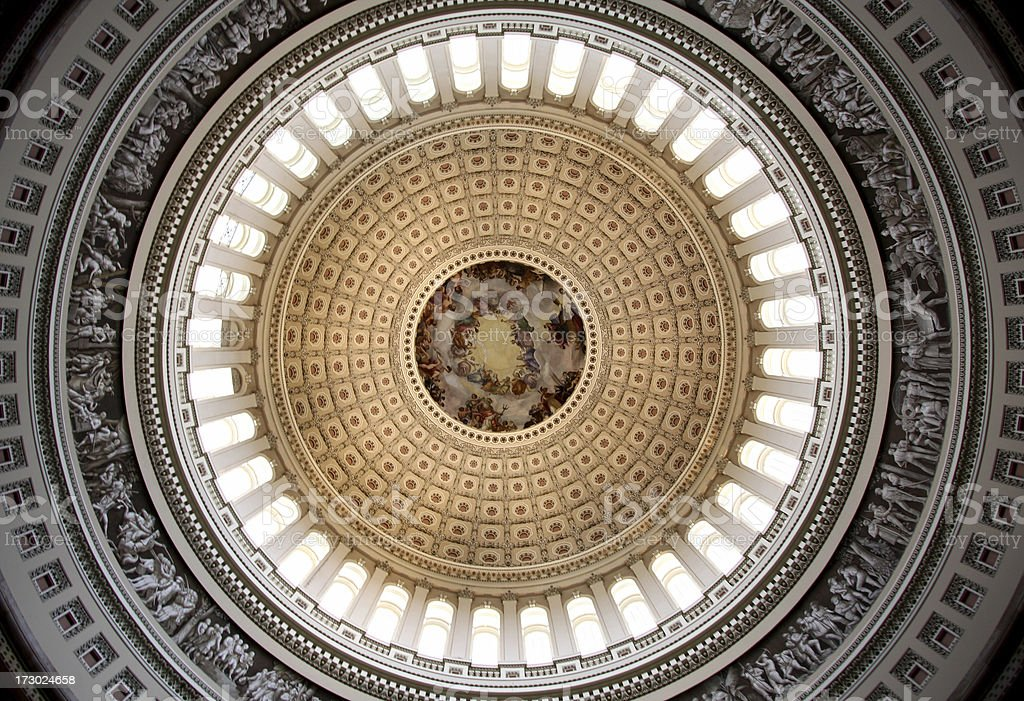 The detailed ceiling of the Capitol Dome as seen from below stock photo